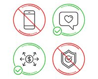 Smartphone, ανταλλαγή δολαρίων και εικονίδια μηνυμάτων αγάπης καθορισμένα Εγκεκριμένο σημάδι ασπίδων r ελεύθερη απεικόνιση δικαιώματος
