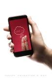 Smartphone εκμετάλλευσης χεριών, κενή οθόνη στο άσπρο υπόβαθρο Στοκ εικόνες με δικαίωμα ελεύθερης χρήσης