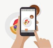 Smartphone εκμετάλλευσης χεριών, σχετικά με την οθόνη και λήψη της φωτογραφίας τροφίμων για το κοινωνικό δίκτυο διάνυσμα Παραγωγή Στοκ Φωτογραφίες