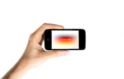 Smartphone εκμετάλλευσης χεριών Στοκ εικόνα με δικαίωμα ελεύθερης χρήσης