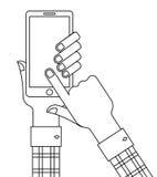 Smartphone και σχετικά με την οθόνη Στοκ Φωτογραφία