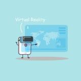 Smartphone κινούμενων σχεδίων με την εικονική πραγματικότητα Στοκ Φωτογραφίες