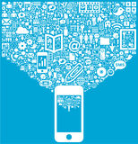 Smartphone & κοινωνικά εικονίδια μέσων Στοκ εικόνα με δικαίωμα ελεύθερης χρήσης