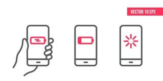 Smartphone με την αναπροσαρμογή, φορτώνοντας διανυσματικό εικονίδιο Κινητό εικονίδιο τηλεφωνικών γραμμών Διανυσματική απεικόνιση  διανυσματική απεικόνιση