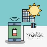 Smartphone με τη χαμηλή μπαταρία και καλώδιο τροφοδοσίας στη ηλιακή ενέργεια Απεικόνιση αποθεμάτων