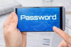Smartphone με τον κωδικό πρόσβασης κειμένων Στοκ εικόνες με δικαίωμα ελεύθερης χρήσης
