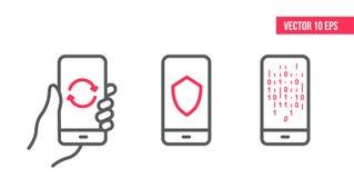 Smartphone με το εικονίδιο ασφάλειας ασπίδων, το εικονίδιο αναπροσαρμογών, το δυαδικούς κώδικα υπολογιστών και τον αλγόριθμο στην διανυσματική απεικόνιση