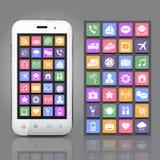 Smartphone με App τα εικονίδια Στοκ Εικόνα