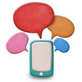 Smartphone οθονών επαφής Plasticine με την ομιλία Στοκ φωτογραφία με δικαίωμα ελεύθερης χρήσης