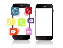 Smartphone οθονών επαφής Smartphone apps με τα προγράμματα εφαρμογών Στοκ Εικόνες