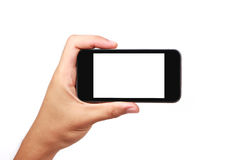Smartphone που απομονώνεται υπό εξέταση Στοκ φωτογραφία με δικαίωμα ελεύθερης χρήσης