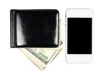 Smartphone που βρίσκεται κοντά πορτοφόλι με τα Ηνωμένα δολάρια, isol Στοκ Φωτογραφίες