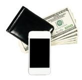 Smartphone που βρίσκεται στο πορτοφόλι με τραπεζογραμμάτιο των Ηνωμένων Πολιτειών, ι Στοκ φωτογραφίες με δικαίωμα ελεύθερης χρήσης