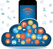 SmartPhone που συνδέεται με το σύννεφο διανυσματική απεικόνιση