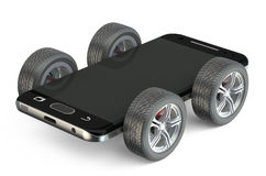 Smartphone στις ρόδες Στοκ φωτογραφία με δικαίωμα ελεύθερης χρήσης