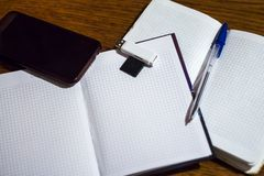 Smartphone στο ανοικτό ημερολόγιο με μια μάνδρα ballpoint και μια κίνηση λάμψης USB στοκ φωτογραφία με δικαίωμα ελεύθερης χρήσης