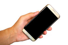 Smartphone στο αριστερό χέρι Στοκ Εικόνες