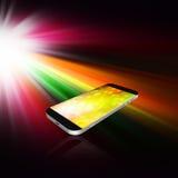 Smartphone στο αφηρημένο υπόβαθρο, τηλεφωνική απεικόνιση κυττάρων Στοκ Εικόνα