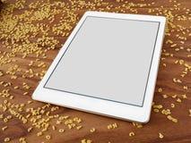 Smartphone στο ξύλο, νουντλς αλφάβητου, app, μαγείρεμα app Στοκ εικόνα με δικαίωμα ελεύθερης χρήσης