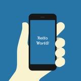 Smartphone υπό εξέταση οριζόντια Στοκ εικόνα με δικαίωμα ελεύθερης χρήσης