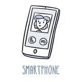 Smartphone Χαριτωμένο σκίτσο doodle στο λευκό Στοκ φωτογραφία με δικαίωμα ελεύθερης χρήσης