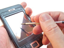 smartphone χεριών Στοκ εικόνα με δικαίωμα ελεύθερης χρήσης