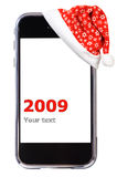 smartphone Χριστουγέννων Στοκ φωτογραφία με δικαίωμα ελεύθερης χρήσης