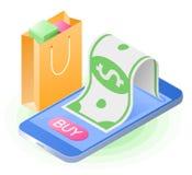 Smartphone, бумажные деньги, хозяйственная сумка Плоское равновеликое illust Стоковое фото RF