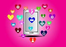 Smartphone значка сердца Стоковое фото RF