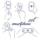 Smartphone значка установленный иллюстрация штока
