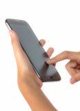 Smartphone перста касающий Стоковые Изображения