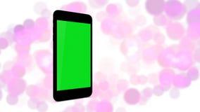 Smartphone поворачивает дальше bokeh и белую предпосылку иллюстрация штока