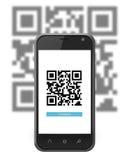 Smartphone просматривая код QR Стоковая Фотография RF
