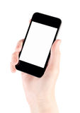smartphone руки яблока изолированное iphone передвижное Стоковое Изображение RF