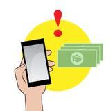 Smartphone с восклицательным знаком и деньгами иллюстрация вектора