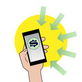 Smartphone с знаком доллара иллюстрация штока