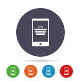 Smartphone с значком знака магазинной тележкаи Стоковые Фотографии RF