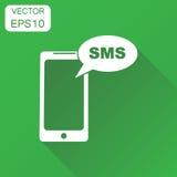 Smartphone с значком sms buble Телефон концепции дела с беспорядком иллюстрация вектора
