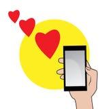 Smartphone с красными сердцами иллюстрация штока