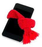 Smartphone с красным шарфом кельнер обслуживания изображения принципиальной схемы Стоковые Изображения