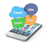 Smartphone с красочными социальными пузырями речи средств массовой информации иллюстрация штока