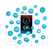 Smartphone с плавать значка apps иллюстрация вектора