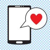 Smartphone с сердцем в пузыре речи, мобильном телефоне и сообщении влюбленности иллюстрация штока
