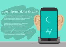 Smartphone с ушами, записывая аудио на экране Предпосылка с простой линией значками Концепция безопасности и защита  Стоковые Изображения RF