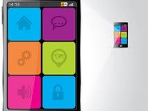 Smartphone увеличенный с цветастыми значками бесплатная иллюстрация