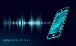 Smartphone ядрового голоса опознавания ассистентский низкий поли Сетка полигональное 3D Wireframe представляет ядровую новаторску иллюстрация штока