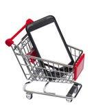 Smartphone (黑屏)在市场购物车 免版税图库摄影