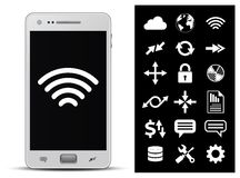 Smartphone and 18 icons. 18 icons - wireless technology, network, internet, finance and security. Vector illustration Stock Image