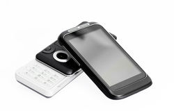 新的老电话smartphone 图库摄影