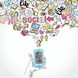 Κινητές εφαρμογές μέσων smartphone κοινωνικές Στοκ φωτογραφία με δικαίωμα ελεύθερης χρήσης